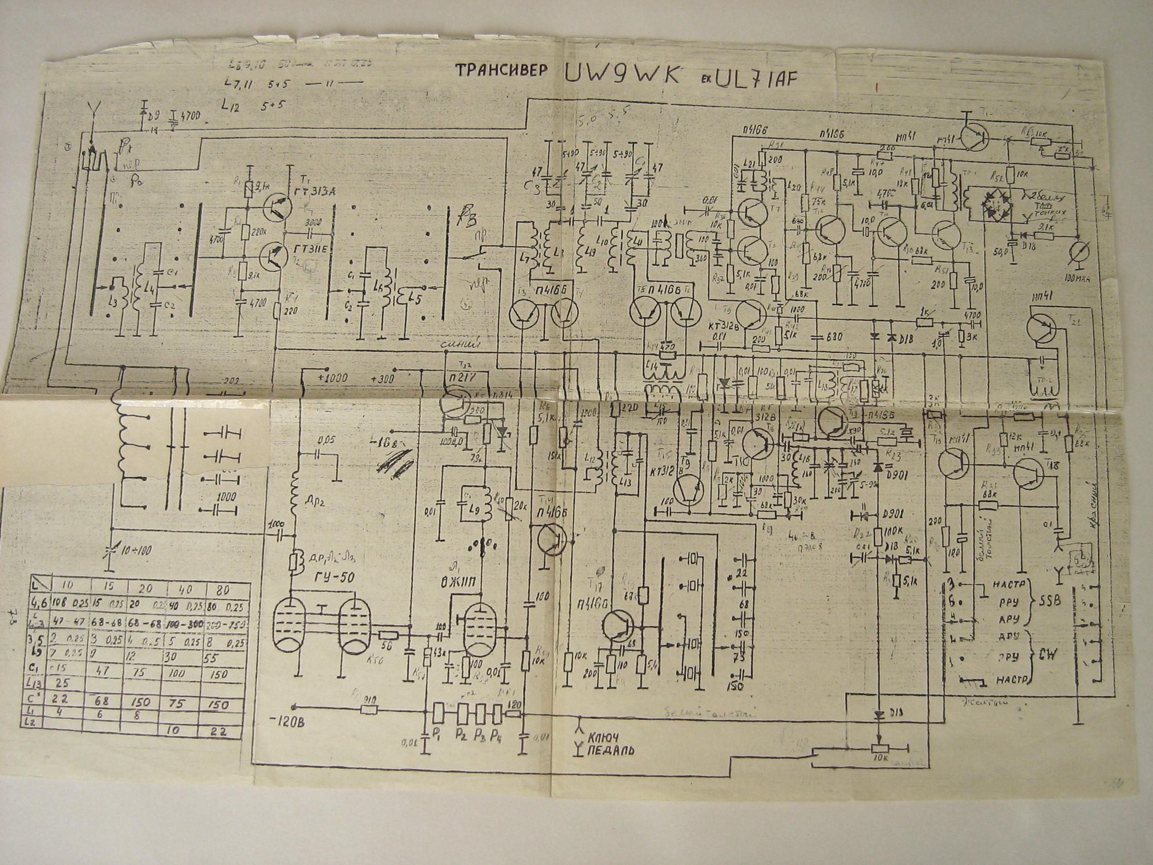 Лампово-полупроводниковый трансивер конструкции Фогеля Ю.В. (UW9WK) .